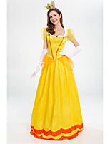cheap -Princess Dress Cosplay Costume Adults' Women's Dresses Halloween Halloween Masquerade Christmas Halloween Masquerade Festival / Holiday Terylene Yellow Women's Easy Carnival Costumes Solid Color