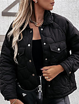 cheap -Women's Jacket Street Daily Going out Fall Winter Regular Coat Single Breasted Turndown Regular Fit Warm Breathable Casual Streetwear Jacket Long Sleeve Solid Color Quilted Pocket White Black Navy