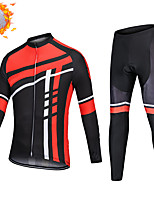 cheap -CAWANFLY Men's Long Sleeve Cycling Jersey with Tights Winter Black / Red Bike Thermal Warm Sports Geometic Road Bike Cycling Clothing Apparel / Micro-elastic / Athleisure