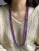 cheap -Beaded Necklace Long Necklace Women's Simple Fashion Holiday Boho Dark Red White Black Dark Blue 85 cm Necklace Jewelry 1pc for Street Gift Daily Prom Festival Geometric