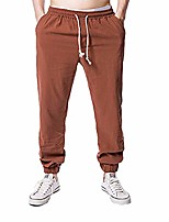 cheap -vanvene mens linen trousers sports pants casual workout running sweatpants yoga pants brown