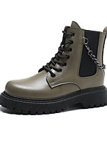 cheap -Women's Boots Flat Heel Round Toe Mid Calf Boots Daily Work PU Solid Colored Army Green Black