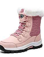 cheap -Women's Boots Flat Heel Round Toe Booties Ankle Boots Daily Outdoor PU Solid Colored Pink Black Beige / Booties / Ankle Boots