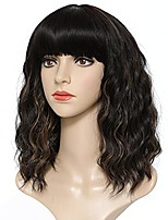 cheap -Short Brown Wig Wavy Wig with Bangs Mix Brown Bob Wig 12 Inch Synthetic Wigs for Party Cosplay Daily Use