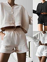 cheap -Women's Sweatsuit 2 Piece Set Drawstring Knitting V Neck Solid Color Sport Athleisure Clothing Suit Long Sleeve Breathable Soft Comfortable Everyday Use Street Casual Daily Outdoor / Summer