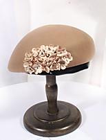 cheap -Women's Beret Hat Party Wedding Street Flower Pure Color Beige Black Hat Khaki Fall Winter Newsboy Cap