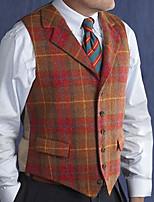 cheap -Men's Vest Gilet Street Daily Fall Spring Short Coat Regular Fit Lightweight Breathable Casual Jacket Sleeveless Striped Pocket Red