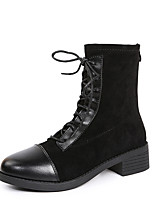 cheap -Women's Boots Chunky Heel Round Toe Booties Ankle Boots Daily PU Solid Colored Black