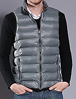 cheap -Men's Vest Daily Fall Winter Regular Coat Regular Fit Thermal Warm Sporty Jacket Sleeveless Solid Color Quilted Light Blue Dark Grey Blue