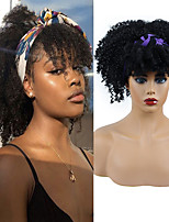cheap -10 Inch Short Kinky Curly Headband Wigs for Black Women Natural Synthetic Afro Kinky Curly Turban Wig with Bangs Daily Scarf Wig