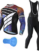 cheap -21Grams Men's Long Sleeve Cycling Jersey with Bib Tights Spandex Polyester Black Stripes Funny Bike Clothing Suit 3D Pad Quick Dry Moisture Wicking Breathable Back Pocket Sports Stripes Mountain Bike