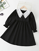 cheap -Kids Little Girls' Dress Solid Colored Daily Lace Puff Sleeve Black Long Sleeve Vintage Princess Dresses Fall 4-12 Years
