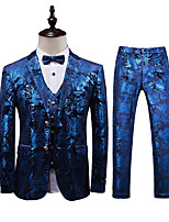 cheap -Men's Wedding Party / Evening Suits 3 pcs Shawl Collar Tailored Fit Single Breasted Two-buttons Patch Pocket Patterned Cotton