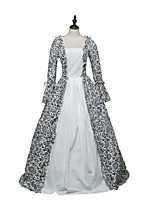 cheap -Ball Gown Elegant Vintage Halloween Quinceanera Dress Square Neck Long Sleeve Floor Length Satin with Ruffles Pattern / Print 2021