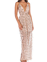 cheap -A-Line Cut Out Beautiful Back Cocktail Party Prom Dress V Neck Sleeveless Floor Length Spandex with Sequin Tassel Tier 2021