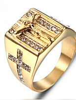 cheap -Men Ring Cubic Zirconia Geometrical Gold Stainless Steel Skull Punk 1pc / Men's