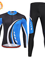 cheap -21Grams Men's Long Sleeve Cycling Jersey with Tights Winter Fleece Spandex Blue / Black Bike Quick Dry Moisture Wicking Sports Geometric Mountain Bike MTB Road Bike Cycling Clothing Apparel