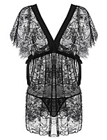 cheap -Women's Breathable Sexy Bodies Home Bed Date Transparent Print Pure Color Polyester Romantic Fashion Fall Winter Spring V Wire Short Sleeve Not Specified / 2 Pieces / Summer