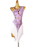 cheap -Latin Dance Dress Tassel Crystals / Rhinestones Women's Training Sleeveless High Chinlon