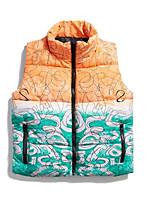 cheap -Men's Down Gilet Daily Fall Winter Regular Coat Regular Fit Thermal Warm Casual Jacket Sleeveless Print Print Blue Yellow
