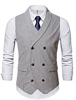 cheap -Men's Vest Gilet Wedding Business Fall Winter Regular Coat Notch lapel collar Regular Fit Thermal Warm Business Casual Jacket Sleeveless Striped Pocket Light Grey Coffee