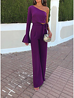 cheap -Jumpsuits Minimalist Elegant Holiday Party Wear Dress One Shoulder Long Sleeve Floor Length Spandex with Ruffles Strappy 2021