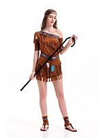 cheap -American Indian Cosplay Costume Adults' Women's Halloween Halloween Festival Halloween Easter Festival / Holiday Terylene Brown Women's Easy Carnival Costumes Solid Color / Skirt / Sleeves / Headwear