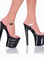 cheap -Women's Sandals High Heel Open Toe PU Buckle Solid Colored Black / Knee High Boots