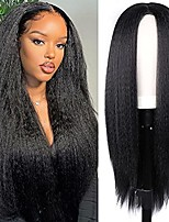 cheap -yaki kinky straight wig for black women 30 inch long straight wig synthetic yaki straight hair wigs easy to wear for daily use (1b) (1b)