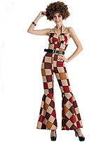 cheap -Hippie Cosplay Costume Adults' Women's Halloween Halloween Halloween Carnival Festival / Holiday Terylene Brown Women's Easy Carnival Costumes Plaid / Check / Leotard / Onesie