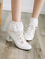 cheap -Women's Boots Chunky Heel Round Toe Booties Ankle Boots Daily Work PU Lace-up Solid Colored Pink White Black / Booties / Ankle Boots