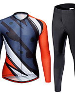 cheap -21Grams Men's Long Sleeve Cycling Jersey with Tights Spandex Blue+Orange Bike Quick Dry Moisture Wicking Sports Geometric Mountain Bike MTB Road Bike Cycling Clothing Apparel / Stretchy / Athletic