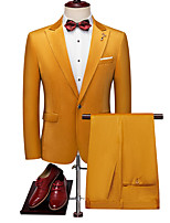 cheap -Men's Wedding Suits 2 pcs Shawl Collar Tailored Fit Single Breasted One-button Patch Pocket Solid Colored Polyester