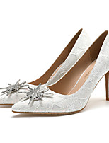 cheap -Women's Wedding Shoes Stiletto Heel Pointed Toe Wedding Office Lace Rhinestone Solid Colored Almond Pink White