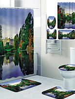 cheap -Beautiful Scenery Printed Bathroom home Decoration Bathroom shower curtain lining waterproof shower curtain with 12 hooks floor mats and four-piece toilet mats.