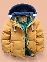 cheap -Kids Boys' Down Coat Long Sleeve Yellow Wine Army Green Plain Pocket Street Sport Vacation Active Basic Sport 2-8 Years / Fall / Winter