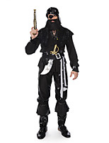 cheap -Pirate Cosplay Costume Adults' Men's Halloween Halloween Halloween Festival / Holiday Polyster Black Men's Easy Carnival Costumes Solid Color / Headpiece / Waist Belt