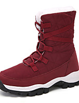 cheap -Women's Boots Flat Heel Round Toe Booties Ankle Boots Daily Outdoor Nylon Faux Leather Solid Colored Red White Black