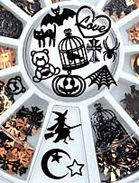 cheap -3 Pcs Brone Black Mix Halloween Shape Pumpkin Face Witch Spider Net Black Cat Bat Metallic Nail Art Sequins Decals Gem DIY Wheel