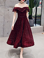 cheap -A-Line Glittering Minimalist Homecoming Cocktail Party Dress Off Shoulder Short Sleeve Tea Length Spandex with Sash / Ribbon Pleats 2021