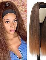 cheap -kinky straight headband wig synthetic glueless wigs for black women 24 inch long yaki straight headband wig with headband attached 150% density heat resistant fiber hair easy to wear (t30#)
