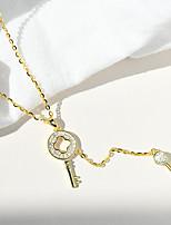 cheap -Pendant Necklace Women's Geometrical Clear S925 Sterling Silver Keys Dainty Luminous Wedding Silver Gold 21-50 cm Necklace Jewelry 1pc for Wedding Round