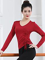 cheap -Latin Dance Ballroom Dance Top Solid Women's Training Performance Long Sleeve Modal