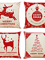 cheap -Christmas Party Double Side Cushion Cover 4PC Soft Decorative Square Throw Pillow Cover Cushion Case Pillowcase for Bedroom Livingroom Superior Quality Machine Washable Indoor Cushion for Sofa Couch Bed Chair