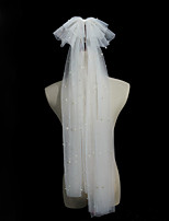 cheap -Two-tier Comtemporary / Stylish Wedding Veil Fingertip Veils with Faux Pearl Tulle