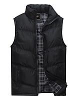 cheap -Men's Vest Gilet Daily Going out Fall Short Coat Zipper Stand Collar Regular Fit Breathable Casual Jacket Sleeveless Plain Pocket Blue Gray Khaki