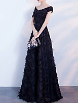 cheap -A-Line Minimalist Elegant Prom Formal Evening Dress V Neck Short Sleeve Floor Length Tulle with Feather Bow(s) Pleats 2021