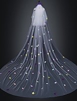 cheap -One-tier Classic Style / Flower Style Wedding Veil Chapel Veils with Petal / Embroidery / Appliques 118.11 in (300cm) Tulle