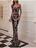 cheap -Mermaid / Trumpet Sparkle Sexy Party Wear Formal Evening Dress Strapless Sleeveless Floor Length Sequined with Tassel 2021