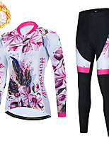 cheap -21Grams Women's Long Sleeve Cycling Jersey with Tights Winter Fleece Spandex Fuchsia Floral Botanical Bike Quick Dry Moisture Wicking Sports Floral Botanical Mountain Bike MTB Road Bike Cycling